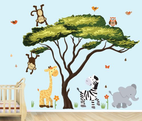 African Tree, Safari Pride Jungle Tree Wall Decals, Jungle Stickers with Green Leaves by Nursery Decals and More