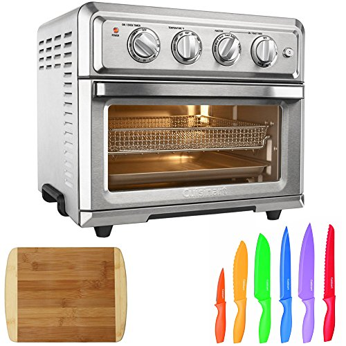 Cuisinart Convection Toaster Oven Air Fryer with Light, Silver (TOA-60) with Cuisinart Advantage 12-Piece Knife Set & Home Basics Two Tone Bamboo Cutting Board