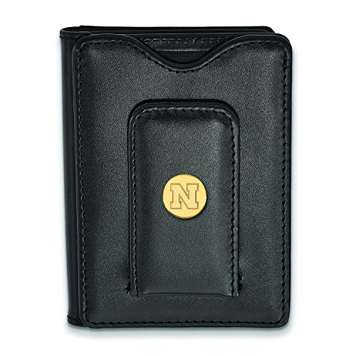 Leather Black Plated Nebraska Gold Plated Wallet Nebraska Wallet Nebraska Leather Gold Black 8fqpTH