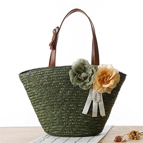 MANFDGABNGS Bag Women Knitted Lady Bags Straw Fashion Tote Summer Beach Large Shopping SS3112 Shoulder Handbag Bag Green Female rrd7wq