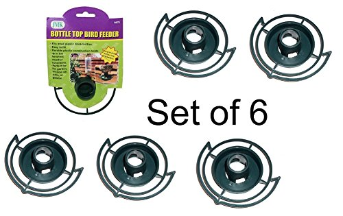 Easy to Make your Own - recycle empty SODA pop Bottle Top BIRD FEEDER (Green - Pack of 6)