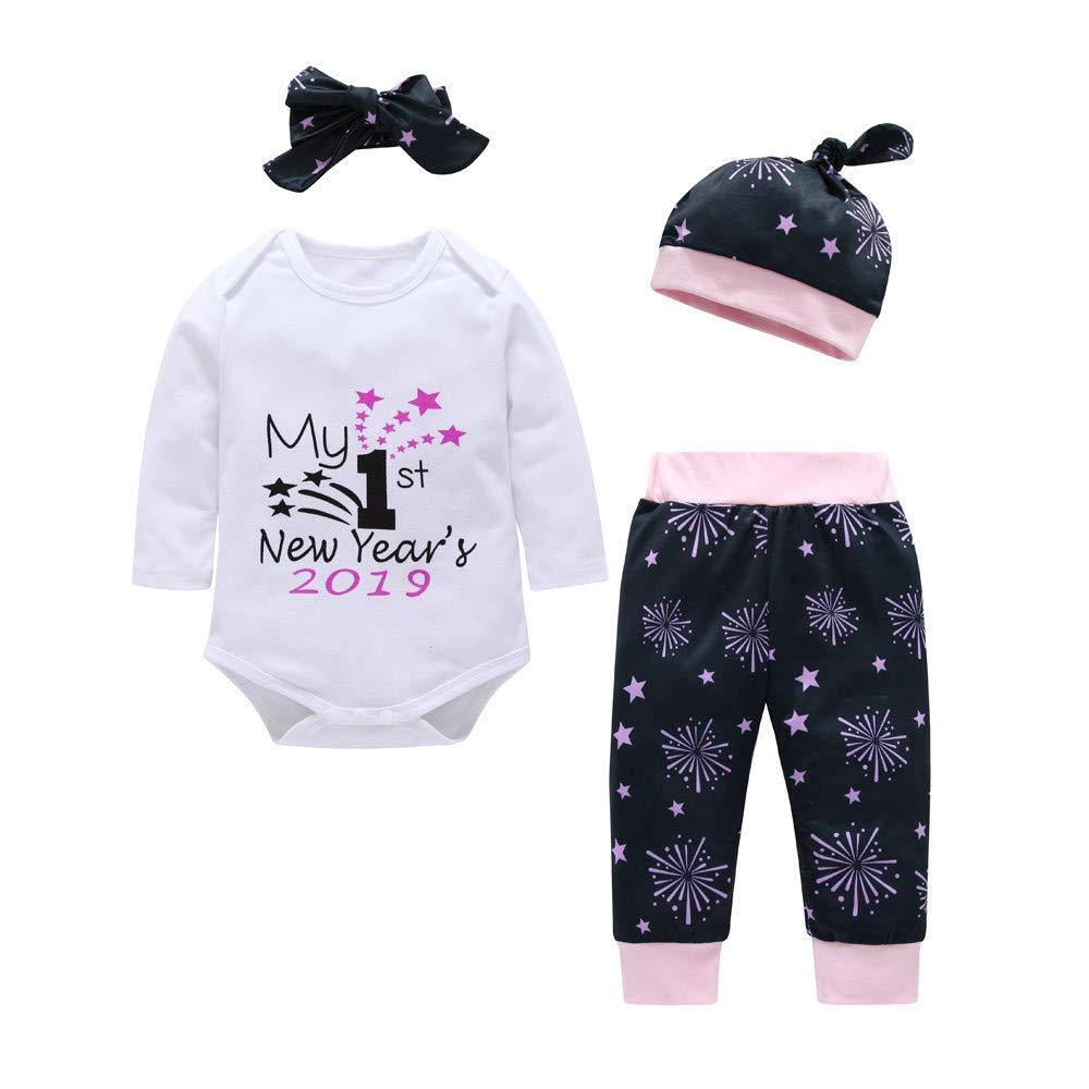 Kobay Neugeborenes Baby Jungen Mä dchen Brief Strampler Hosen Hut 2019 New Year Outfits Set