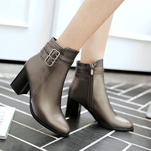 hasta redondo Semicuero AIURBAG Botines Moda Botas Primavera Para Invierno Zapatos Botas gray Mujer el el Dedo Tobillo Tobillo Botas Hasta de Hebilla 6qxrwZqznE