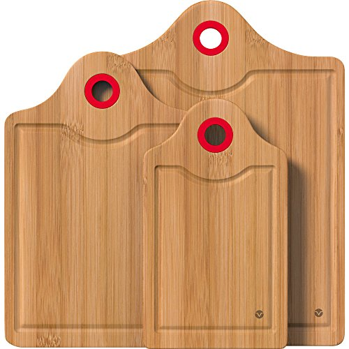 Monogram Large Platter (Vremi 3 Piece Bamboo Cutting Board Set - Wood Carving and Chopping Boards for Countertop with Colored Silicone Handle and Lip Edge - Small Medium and Large - Premium Organic)