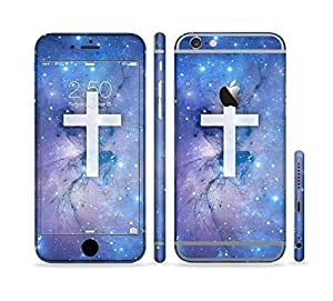 The Vector White Cross v2 over Purple Nebula Sectioned Skin Set for the Apple iPhone 6 Plus