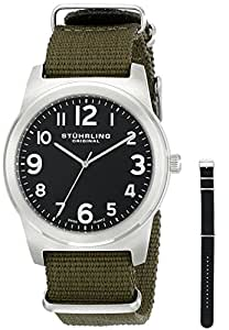 "Stuhrling Original Men's 409.SET.03 ""Tuskegee Contrail"" Stainless Steel Watch Set with Two Straps"