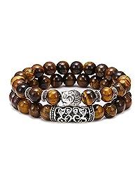 2PCS Lava Rock Turquoise Tiger Eye White Howlite Beads Bracelet Buddha Head Prayer Reiki Meditation Bracelet