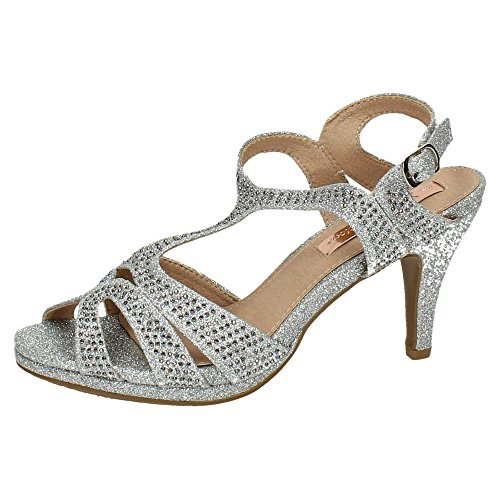 38 argent femme EU argenté sandales XTI TczfaFOa