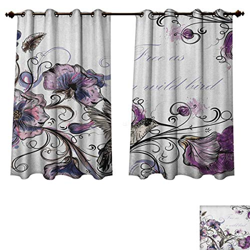 PriceTextile Hummingbird Bedroom Thermal Blackout Curtains Flowers Leaves Bird and Classic Patterns Curvy Lines Ornament Nostalgic Art Blackout Draperies for Bedroom Purple Black Size W72 xL63