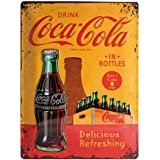 Nostalgic Art Coca Cola In Bottles Yellow - Placa decorativa, metal, 30 x 40 cm, color amarillo y rojo