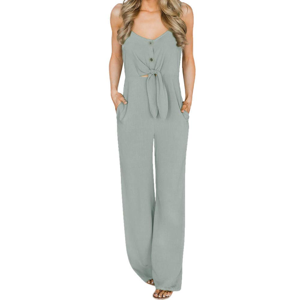 Fashion Jumpsuit Women Jumpsuits Elegant Wide Leg Summer Sexy Bow Backless Off Shoulder V Neck Rompers Gray XL by GWshop (Image #1)