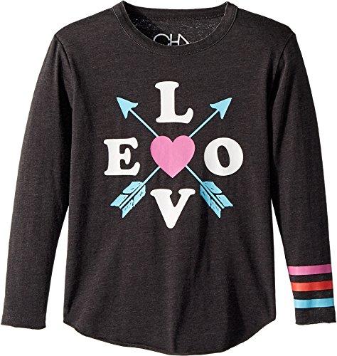 Chaser Kids Girl's Vintage Jersey Love Arrows Tee (Little Kids/Big Kids) Vintage Black 10