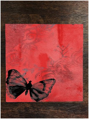 Butterfly Red Vintage One Piece Premium Ceramic Tile Coaster 4.25