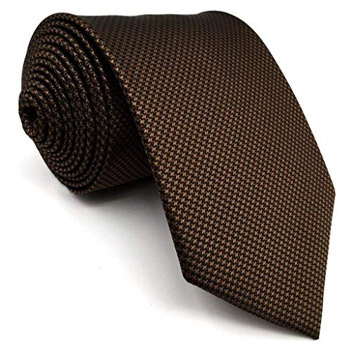 Shlax&Wing Mens Tie Solid Color Dark Brown Chocolate Necktie Silk Classic Brown Thin Mens Necktie