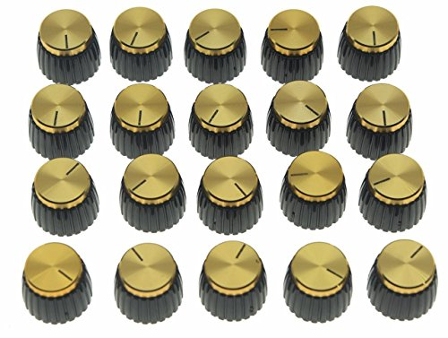 Dopro 20pcs Guitar AMP Amplifier Push on fit Knobs Black w/Gold Cap for Marshall Amplifier