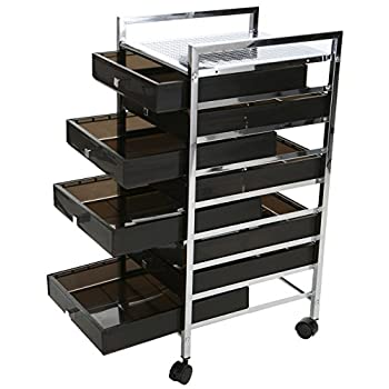 Mind Reader Rolling Storage Cart and Organizer with 8 Plastic Drawers and 2 Handles