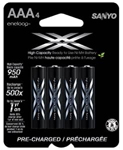 eneloop XX 950mAh Typical / 900mAh Minimum, High Capacity, 4 Pack AAA Ni-MH Pre-Charged Rechargeable Batteries