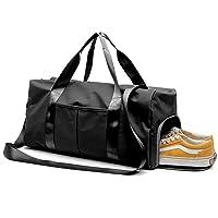 YOYAMALL Bolsa deportiva para el gimnasio, Bolsa de natacion, con compartimiento para zapatos y bolsillo mojado para el baile de yoga. (Negro, one pack)