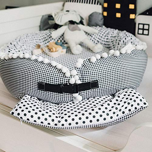 Baby Infant Newborn Lounger for 0-12 Months Portable Bassinet Cushion with Cotton Cover by foreverwen