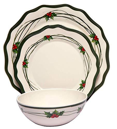 Melange 18-Piece Melamine Dinnerware Set (Christmas Berries)   Shatter-Proof and Chip-Resistant Melamine Plates and Bowls   Dinner Plate, Salad Plate & Soup Bowl (6 Each)