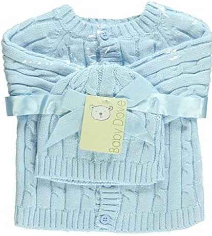 Baby Dove Cable Knit Cardigan & Beanie Set