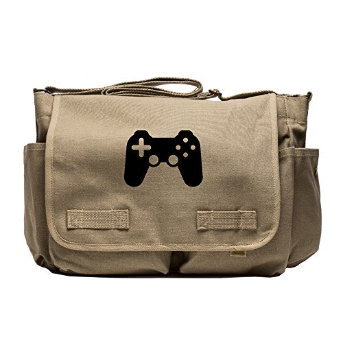 Price comparison product image playstation 4 controller Heavyweight Canvas Messenger Shoulder Bag in Khaki