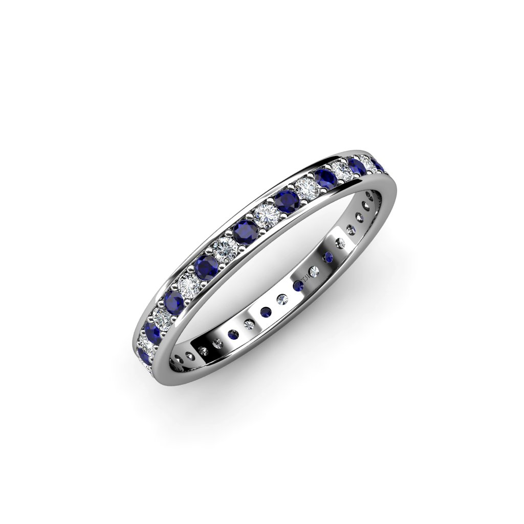 Blue Sapphire and Diamond Channel Prong Eternity Band 0.83ct tw to 0.96ct tw in 18K White Gold.size 4.0