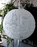 Quasimoon PaperLanternStore.com 12'' White Lace Fabric Lantern, Even Ribbing, Hanging Decoration