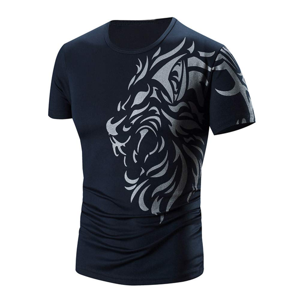 PASATO Men Summer Round Neck Tee Printing Men's Short-Sleeved T-Shirt Top Blouse(Navy,M=US:S)