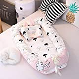 Ukeler Baby Nest Bassinet for Bed - Cloud Design Baby Co-Sleeping Cribs & Cradles Lounger Cushion 100% Cotton Soft Newborn Lounger with Pillow