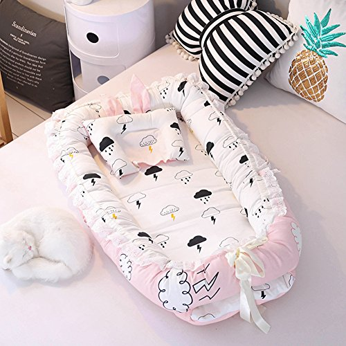 Ukeler Baby Nest Bassinet for Bed - Cloud Design Baby Co-Sleeping Cribs & Cradles Lounger Cushion 100% Cotton Soft Newborn Lounger with Pillow by Ukeler