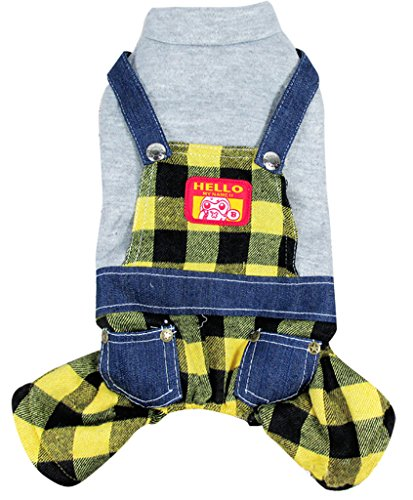 Woo Woo Pets Dog Pet Clothes Grid Fashion Overalls Pet Spring and Summer Clothing Red - Grid Fashion