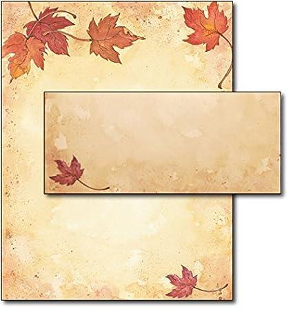 amazon com fall leaves stationery envelopes 40 sets office