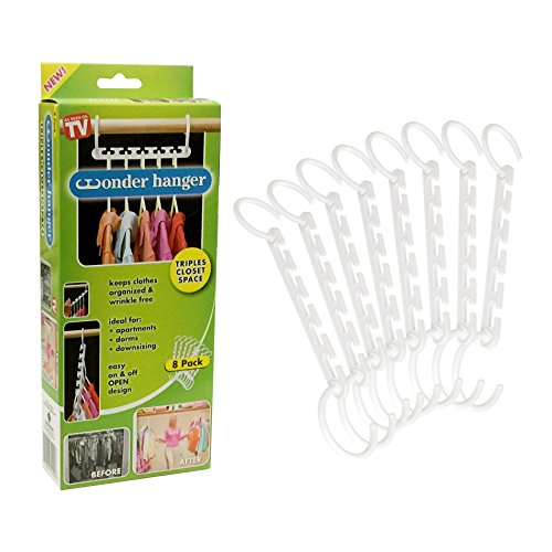Wonder Hanger Pack of 8 in White, Magical Cascading Hangers, Space Saving Solution for Your Closet