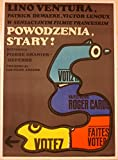 VINTAGE 1975 POLISH LINEN BACKED POSTER - POWODZENIA STARY - COOL SNAKE GUN ART