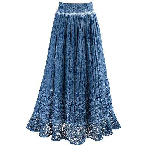 CATALOG CLASSICS Women's Peasant Skirt - Indigo Blue Pigment Washed Crochet Hem Elastic Waist - Medium