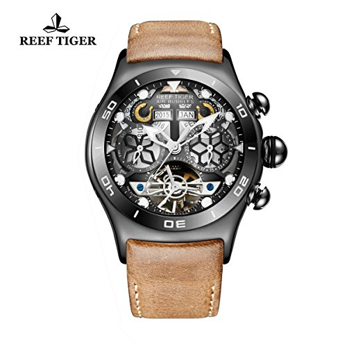 Reef Tiger Luminous Sport Mens Watch with Year Month Date Day Tourbillon Watch RGA703