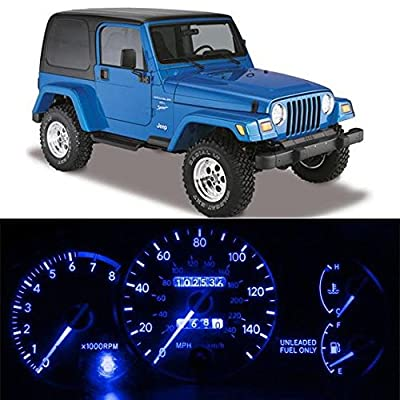 Partsam 11PCS Instrument Panel LED Light Package Gauge Cluster Dashboard Indicator Bulb for 1987-1995 Jeep Wrangler, Blue, Pack of 11