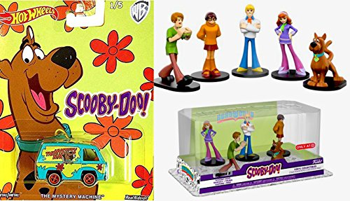 Scooby-Doo HeroWorld 5-Pack Funko Figure Exclusive Mystery Solving Crew Collectibles + Mystery Machine Van 2017 Hot Wheels Die-cast Velma, Scooby, Fred, Shaggy, and Daphne Character Set