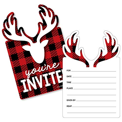Prancing Plaid - Shaped Fill-in Invitations - Reindeer Holiday & Christmas Party Invitation Cards with Envelopes - Set of 12