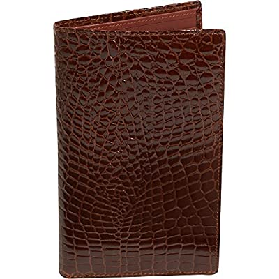 """This Large European, Crocodile bidente, Credit Card Secretary Measures 7"""" x 4 1/4"""" in Size and Contains Enough Slits to Organize 26 Cards."""