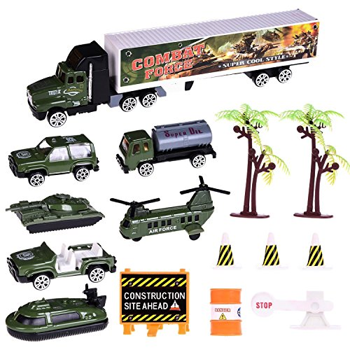 Army Car Toys 15 PCs Military Toys Playset Assorted of Military Diecast Cars, Army Helicopter, Semi Truck, Road Block Accessories, Goody Bag Stuffers, Pinata Filler
