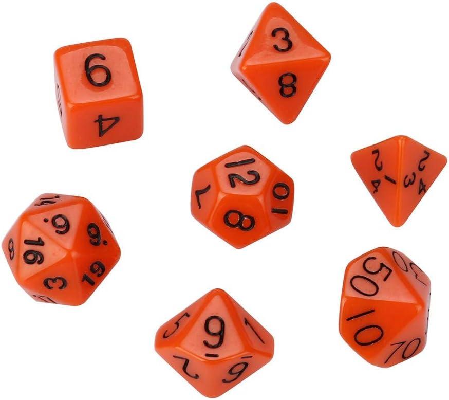 SEWORLD D/és Opaques Dices 7pcs Cube Grain Perl/é D4-D20 Multi-Faces Jouer D/és Set pour TRPG Jeu Portable Jeux D/écoration de Maison D/és F/ête Famille Club Jouet