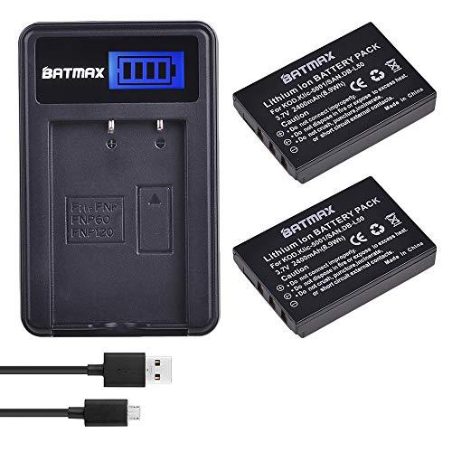 IC-5001 Li-ion Battery + LCD USB Charger for Kodak Easyshare P712 P850 P880 Z730 Z760 Z7590 DX6490 DX7440 DX7590 DX7630 Zoom and Sanyo DB-L50 DMX-WH1 HD1010 FH11 HD2000 VPC-WH1 HD2 ()