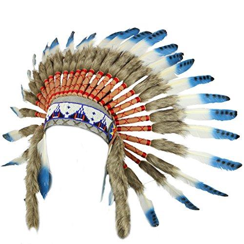 Coiffe de chef indien avec plumes bleues à taches noires Commerce équitable