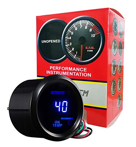 HOTSYSTEM Universal Oil Temperature Gauge Temp Meter Blue Digital LED DC12V 2inches 52mm for Car Automotive(Celsius)