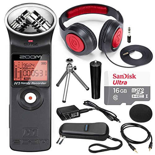 Zoom H1 Handy Portable Digital Recorder Along with Samson Stereo Headphone and Deluxe accessory bundle.