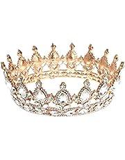 Frcolor Vintage Tiara kroon, kristal strass aanzet koningin kroon tiara haarsieraad