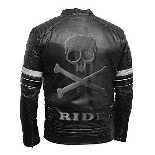 Genuino Stripes Vintage Retro Teschio Stile Con Nera Giacca Moto Biker Sul White Rilievo Pelle In Di qAArZtOx