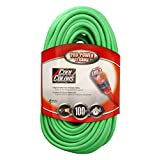 Coleman Cable 02579-0X 12/3 100-Foot Neon Outdoor Extension Cord (Bright Green)